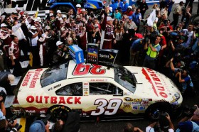 Ryan Newman celebrates with his team following the NASCAR Sprint Cup Series Goody's Fast Relief 500 at Martinsville Speedway on Sunday in Martinsville, Va. - Photo Credit: Jared C. Tilton/Getty Images for NASCAR