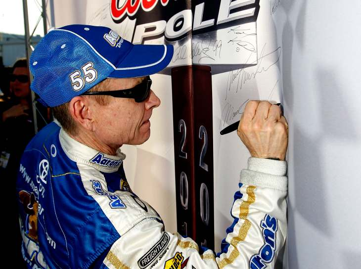 NASCAR Sprint Cup Series driver Mark Martin celebrates as he breaks his previous record as oldest Coors Light Pole winner at Richmond (53 years, 3 months, 19 days) on Friday at Richmond International Raceway. - Photo Credit: Tom Pennington/Getty Images for NASCAR
