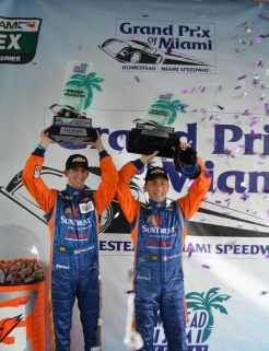 Sun Trust Racing's Max Angelelli and Ricky Taylor celebrate in Victory Lane following their Grand Prix of Miami win at Homestead-Miami Speedway on Sunday. - Photo courtesy of Chris Green, Homestead-Miami Speedway