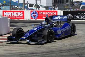 Alex Tagliani in the No. 98 Team Barracuda-BHA car on the streets of Long Beach, Calif.