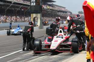 Ryan Briscoe during a pit stop -- Photo by: Chris Jones for IMS