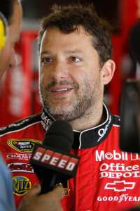 Tony Stewart in the Garage during a SPEED interview - Photo Credit: Wesley Hitt/Getty Images for NASCAR