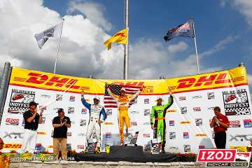 Chevrolet Drivers Ryan Hunter-Reay (center 1st-place) Tony Kanaan (left 2nd-place) and James Hinchcliffe (right 3rd-place) Podium Finish at Milwaukee IndyFest - Photo Credit: INDYCAR/LAT USA