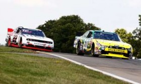 Carl Edwards leads Brad Keselowski during the late stages of the NASCAR Nationwide Series' Zippo 200 at Watkins Glen (N.Y.) International. - Photo Credit: Jeff Zelevansky, Getty Images for NASCAR