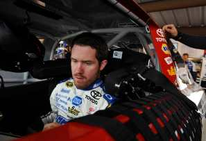Brian Vickers in the No. 55 MyClassicGarage.com Toyota in the garage at Martinsville - Photo Credit: Rainier Ehrhardt/Getty Images