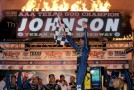 Jimmie Johnson, driver of the #48 Lowe's Chevrolet, celebrates in Victory Lane after winning the NASCAR Sprint Cup Series AAA Texas 500 at Texas Motor Speedway on November 4, 2012 in Fort Worth, Texas. (November 3, 2012 - Photo Credit: Tom Pennington/Getty Images