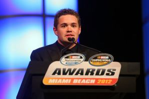 Nationwide Series Champion Ricky Stenhouse Jr. speaks during the NASCAR Nationwide Series And Camping World Truck Awards Banquet at Loews Miami Beach on November 19, 2012 in Miami Beach, Florida. - Photo Credit: Mike Ehrmann/Getty Images