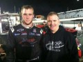 Driver Brandon McReynolds alongside team owner Jeff Burton after the Snowflake 100