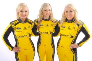 Brooke Werner (L) joins Current Miss Sprint Cup Kim Coon (C) and Jaclyn Roney (R)