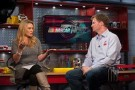 "Dale Earnhardt Jr., on ""NASCAR Now"" set with host Nicole Briscoe"