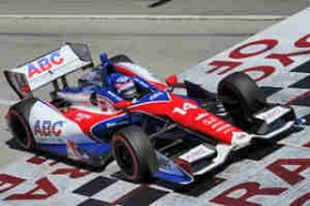 2013 IICS Driver Takuma Sato Takes the Checkered Flag in the Toyota Grand Prix of Long Beach - Photo Credit: Firestone Racing