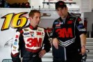 Greg Biffle (L), driver of the #16 3M Ford, talks with crew chief Matt Puccia (R) - Photo Credit: Chris Graythen/Getty Images