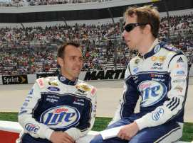 Brad Keselowski, driver of the #2 Miller Lite Ford, and his crew chief Paul Wolfe - Photo Credit: John Harrelson/Getty Images