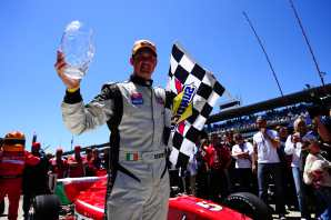Peter Dempsey celebrates his Firestone Freedom 100 win -- Photo Credit: Michael Roth for IMS