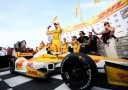 Ryan Hunter-Reay, driver of the #1 Andretti Autosport DHL Chevrolet celebrates winning in victory during the Milwaukee IndyFest at the Milwaukee Mile on June 15, 2013 in West Allis, Wisconsin. - Photo Credit: Nick Laham/Getty Images