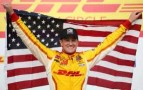 Ryan Hunter-Reay, driver of the #1 Andretti Autosport DHL Chevrolet celebrates winning in victory lane during the Milwaukee IndyFest at the Milwaukee Mile on June 15, 2013 in West Allis, Wisconsin. - Photo Credit: Nick Laham/Getty Images
