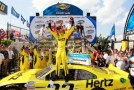 Joey Logano, driver of the #22 Hertz Ford, celebrates in Victory Lane after winning the NASCAR Nationwide Series 5-hour ENERGY 200 at Dover International Speedway on June 1, 2013 in Dover, Delaware. - Photo Credit:Geoff Burke/Getty Images
