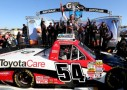 Darrell Wallace Jr., driver of the #54 ToyotaCare Toyota, celebrates in victory lane after winning the NASCAR Camping World Truck Series Kroger 200 at Martinsville Speedway on October 26, 2013 in Martinsville, Virginia. - Photo Credit: Jerry Markland/Getty Images
