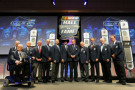 NASCAR Hall of Famers Leonard Wood, Maurice Petty, Junior Johnson, Dale Inman, Ned Jarrett, Dale Jarrett, Richard Petty, Bud Moore, Jack Ingram, Rusty Wallace, Bobby Allison, and Darrell Waltrip pose for a photo opportunity during the NASCAR Hall of Fame induction ceremony at NASCAR Hall of Fame on January 29, 2014 in Charlotte, North Carolina. - Photo Credit: Jared C. Tilton/Getty Images
