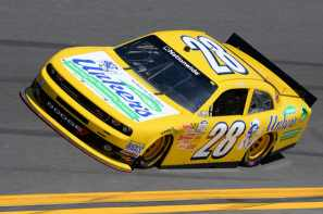 Mike Wallace, driver of the #28 Unker's Dodge, practices for the NASCAR Nationwide Series DRIVE4COPD 300 at Daytona International Speedway on February 20, 2014 in Daytona Beach, Florida. - Photo Credit: Robert Laberge/Getty Images