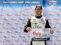 Brian Scott, driver of the #33 Shore Lodge Chevrolet, poses with the Coors Light Pole award after qualifying for the NASCAR Sprint Cup Series Aaron's 499 at Talladega Superspeedway on May 3, 2014 in Talladega, Alabama. - Photo Credit: Patrick Smith/Getty Images