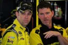 Matt Kenseth, driver of the #20 Dollar General Toyota, left, talks with crew chief Jason Ratcliff in the garage area - Photo Credit: Jeff Curry/Getty Images