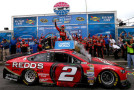 Brad Keselowski, driver of the #2 Redds Ford, celebrates in victory lane after winning the NASCAR Sprint Cup Series Camping World RV Sales 301 at New Hampshire Motor Speedway on July 13, 2014 in Loudon, New Hampshire. - Photo Credit: Jonathan Ferrey/Getty Images