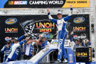 Brad Keselowski, driver of the #19 DrawTire Ford, celebrates in victory lane after winning the NASCAR Camping World Truck Series UNOH 200 presented by ZLOOP at Bristol Motor Speedway on August 21, 2014 in Bristol, Tennessee. - Photo Credit: Patrick Smith/Getty Images