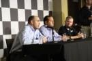 Stewart Haas Racing's Brett Frood, executive vice president, Greg Zipadelli and Jeff Burton (Photo Credit: Grace Krenrich)
