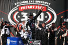 Kevin Harvick, driver of the #5 Jimmy John's Chevrolet, celebrates in victory lane after winning the NASCAR Nationwide Series Jimmy John's Freaky Fast 300 at Chicagoland Speedway on September 13, 2014 in Joliet, Illinois. - Photo Credit: Nick Laham/Getty Images
