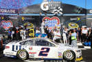 Brad Keselowski, driver of the #2 Miller Lite Ford, celebrates in Victory Lane after winning during the NASCAR Sprint Cup Series MyAFibStory.com 400 at Chicagoland Speedway on September 14, 2014 in Joliet, Illinois. - Photo Credit: Jerry Markland/Getty Images