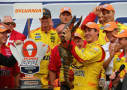 Joey Logano, driver of the #22 Shell-Pennzoil Ford, receives a lobster in victory lane after winning the NASCAR Sprint Cup Series Sylvania 300 at New Hampshire Motor Speedway on September 21, 2014 in Loudon, New Hampshire. - Photo Credit: Jonathan Ferrey/Getty Images