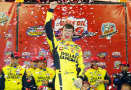 Erik Jones, driver of the #51 Dollar General Toyota, celebrates in victory lane after winning during the NASCAR Camping World Truck Series Lucas Oil 150 at Phoenix International Raceway on November 7, 2014 in Avondale, Arizona. - Photo Credit: Tom Pennington/Getty Images