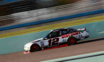 Ryan Blaney, driver of the #12 Discount Tire Ford, practices for the NASCAR Nationwide Series Ford EcoBoost 300 at Homestead-Miami Speedway on November 14, 2014 in Homestead, Florida. - Photo Credit: Brian Lawdermilk/Getty Images