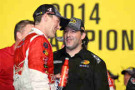 Kevin Harvick, driver of the #4 Budweiser Chevrolet, and team owner Tony Stewart celebrate winning in Victory Lane after the NASCAR Sprint Cup Series Ford EcoBoost 400 at Homestead-Miami Speedway on November 16, 2014 in Homestead, Florida. - Photo Credit: Chris Graythen/Getty Images
