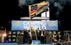 Matt Crafton, driver of the No. 88 Jeld-Wen / Menards Toyota, celebrates winning the series championship in Victory Lane after the NASCAR Camping World Truck Series Ford EcoBoost 200 at Homestead-Miami Speedway on November 14, 2014 in Homestead, Florida. (Photo Credit: Getty Images for NASCAR)