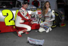 Jeff Gordon, driver of the #24 3M Chevrolet, poses with Miss Coors Light Rachel Rupert after winning the Coors Light pole award for the NASCAR Sprint Cup Series Kobalt 400 at Las Vegas Motor Speedway on March 6, 2015 in Las Vegas, Nevada. - Photo Credit: Chris Trotman/Getty Images