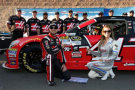 Kurt Busch, driver of the #41 Haas Automation Chevrolet, poses for a photo with Miss Coors Light Rachel Rupert after winning the pole during qualifying for the NASCAR Sprint Cup Series Auto Club 400 at Auto Club Speedway on March 20, 2015 in Fontana, California. - Photo Credit: Todd Warshaw/Getty Images