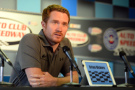 Brian Vickers, driver of the Michael Waltrip Racing Toyota, answers questions from media during a press conference before the NASCAR Sprint Cup Series Auto Club 400 at Auto Club Speedway on March 22, 2015 in Fontana, California. Vickers was forced to withdraw from competition due to blood clots. - : Robert Laberge/Getty Images