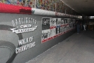 "Installation of the ""Walk of Champions"" in Darlington Raceway's Turn 1 pedestrian tunnel"