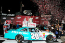 Denny Hamlin, driver of the #20 Hisense Toyota, celebrates in Victory Lane after winning the NASCAR XFINITY Series ToyotaCare 250 at Richmond International Raceway on April 24, 2015 in Richmond, Virginia. - Photo Credit: Jeff Curry/Getty Images