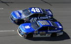 Jimmie Johnson, driver of the #48 Lowe's Chevrolet, races Dale Earnhardt Jr., driver of the #88 Nationwide Chevrolet, during the NASCAR Sprint Cup Series GEICO 500 at Talladega Superspeedway on May 3, 2015 in Talladega, Alabama. - Photo Credit: Brian Lawdermilk/Getty Images
