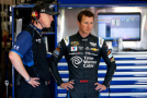 Kasey Kahne(right), driver of the #5 Time Warner Cable Chevrolet, and his crew chief Keith Rodden stand in the garage area - Photo Credit: Doug Pensinger/Getty Images
