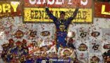 Brandon McReynolds celebrates in Victory Lane at Iowa Speedway after winning the Casey's General Store 150 Saturday night. (Photo Credit: Getty Images for NASCAR)