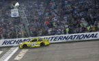 Matt Kenseth, driver of the #20 Dollar General Toyota, takes the checkered flag to win the NASCAR Sprint Cup Series Federated Auto Parts 400 at Richmond International Raceway on September 12, 2015 in Richmond, Virginia. - Photo Credit: Chris Graythen/Getty Images