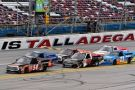 Christopher Bell in the No. 54 JBL® Speakers Toyota Tundra leads the pack at Talladegaa (Ala.) Superspeedway